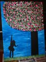 SOLD'Button Tree with Girl' Pink - Large 75x100cm Canvas special request