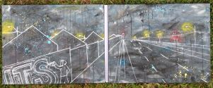 'Urban Night' Diptych (2pieces) $120+p&h 2x30x40cm Acrylic on canvas