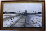 'Auschwitz' $350+p&h Oil on wooden board/frame 105x70cm